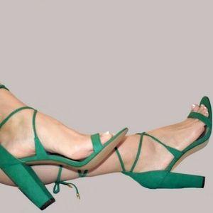 Strappy Sandals Heels Green Suede